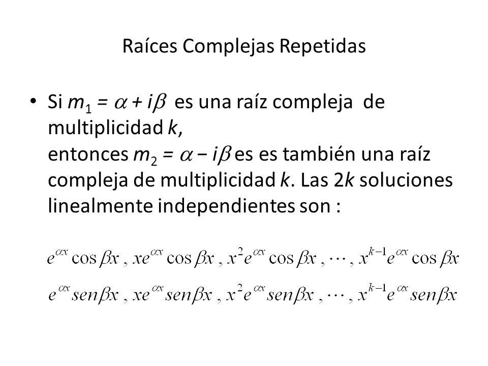 Si m 1 = + i es una raíz compleja de multiplicidad k, entonces m 2 = i es es también una raíz compleja de multiplicidad k.