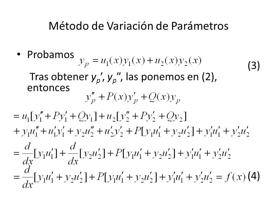 Método de Variación de Parámetros Probamos (3) Tras obtener y p, y p, las ponemos en (2), entonces (4)