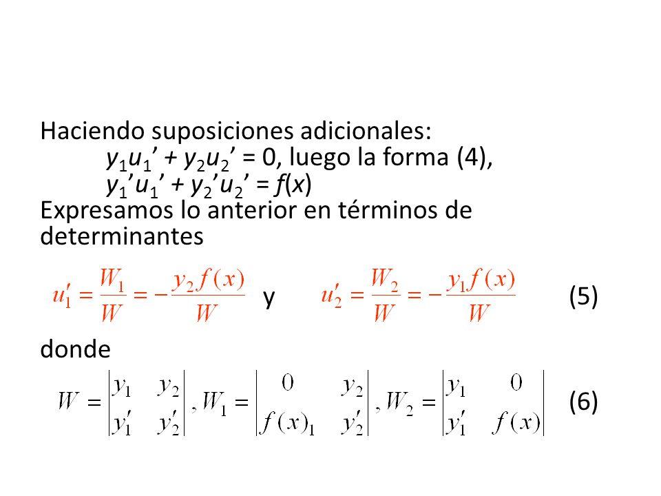 Haciendo suposiciones adicionales: y 1 u 1 + y 2 u 2 = 0, luego la forma (4), y 1u 1 + y 2u 2 = f(x) Expresamos lo anterior en términos de determinantes y(5) donde (6)