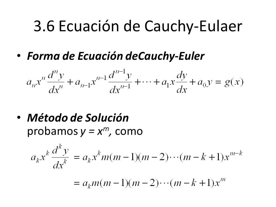 3.6 Ecuación de Cauchy-Eulaer Forma de Ecuación deCauchy-Euler Método de Solución probamos y = x m, como