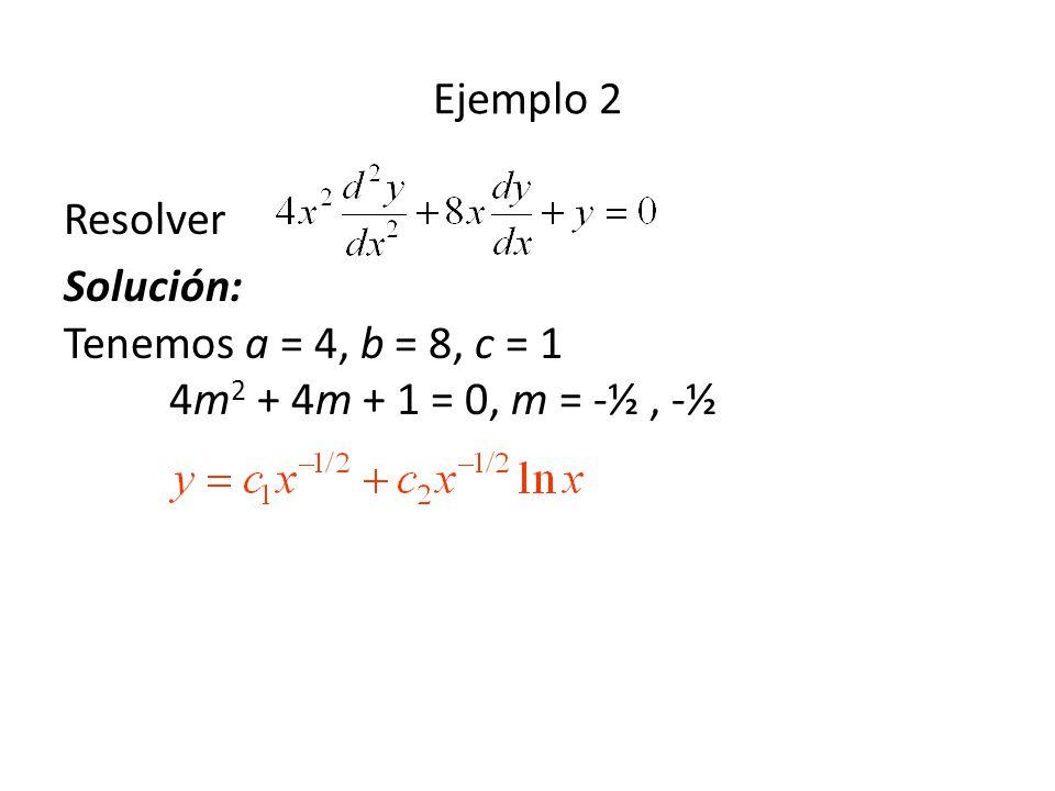 Ejemplo 2 Resolver Solución: Tenemos a = 4, b = 8, c = 1 4m 2 + 4m + 1 = 0, m = -½, -½