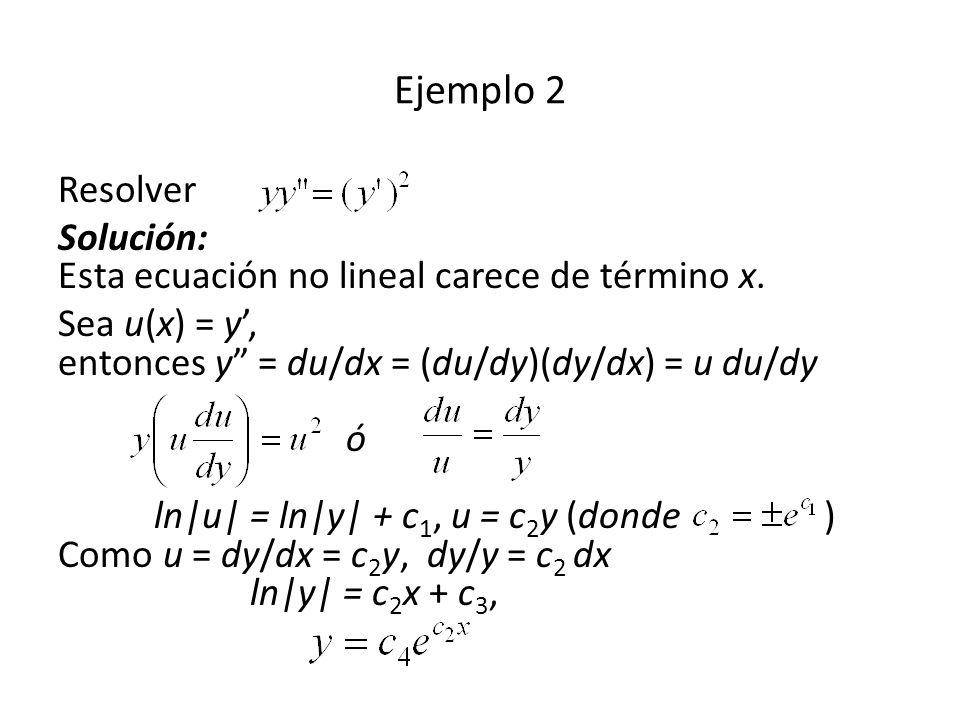 Resolver Solución: Esta ecuación no lineal carece de término x.