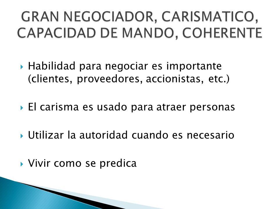 Habilidad para negociar es importante (clientes, proveedores, accionistas, etc.) El carisma es usado para atraer personas Utilizar la autoridad cuando