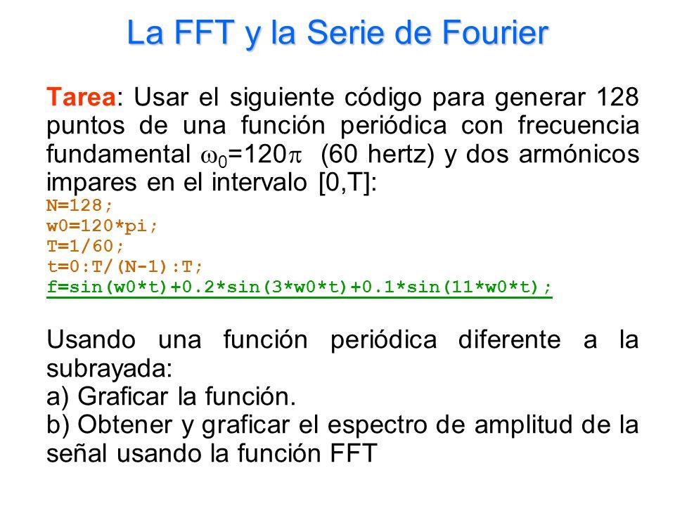 La FFT y la Serie de Fourier Tarea: Usar el siguiente código para generar 128 puntos de una función periódica con frecuencia fundamental 0 =120 (60 he
