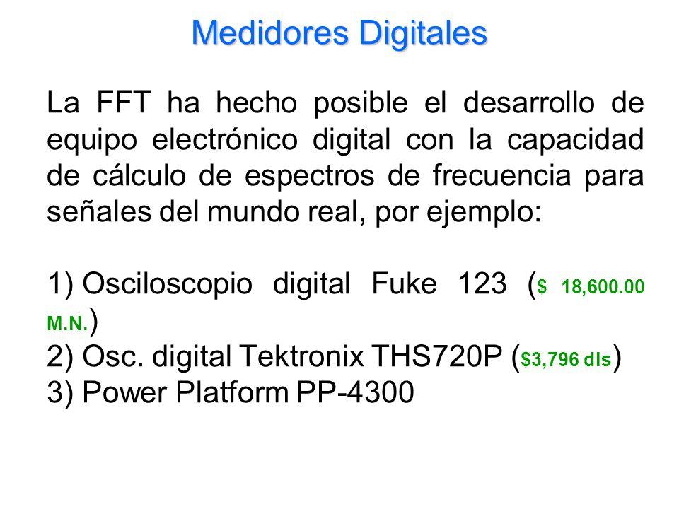 Medidores Digitales La FFT ha hecho posible el desarrollo de equipo electrónico digital con la capacidad de cálculo de espectros de frecuencia para se