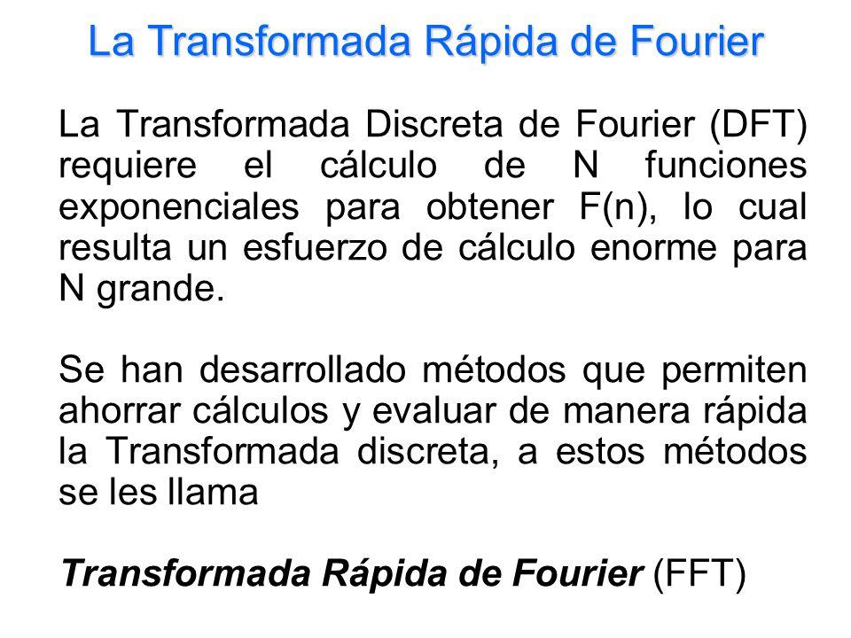 La Transformada Rápida de Fourier La Transformada Discreta de Fourier (DFT) requiere el cálculo de N funciones exponenciales para obtener F(n), lo cua