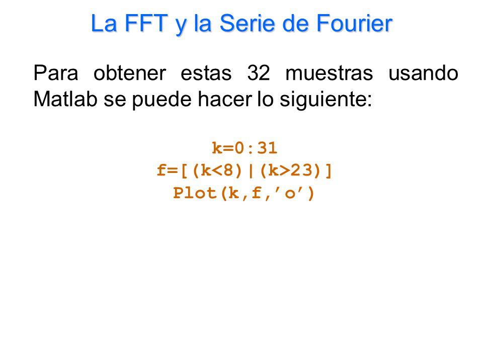 La FFT y la Serie de Fourier Para obtener estas 32 muestras usando Matlab se puede hacer lo siguiente: k=0:31 f=[(k 23)] Plot(k,f,o)