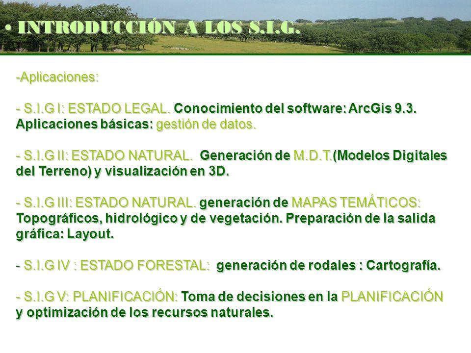 -Aplicaciones: - S.I.G I: ESTADO LEGAL. Conocimiento del software: ArcGis 9.3. Aplicaciones básicas: gestión de datos. - S.I.G II: ESTADO NATURAL. Gen