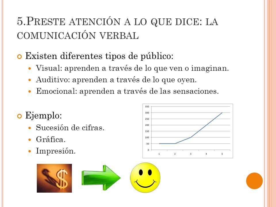 5.P RESTE ATENCIÓN A LO QUE DICE : LA COMUNICACIÓN VERBAL Existen diferentes tipos de público: Visual: aprenden a través de lo que ven o imaginan.
