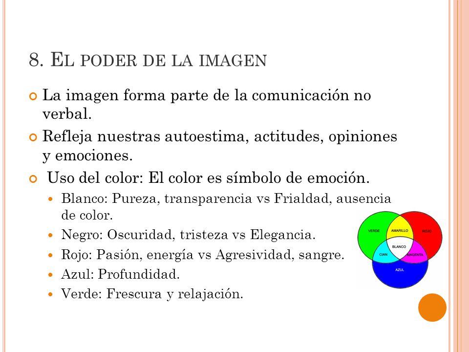 8.E L PODER DE LA IMAGEN La imagen forma parte de la comunicación no verbal.