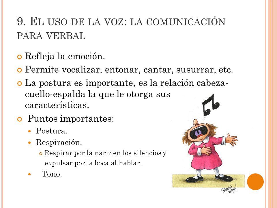 9.E L USO DE LA VOZ : LA COMUNICACIÓN PARA VERBAL Refleja la emoción.