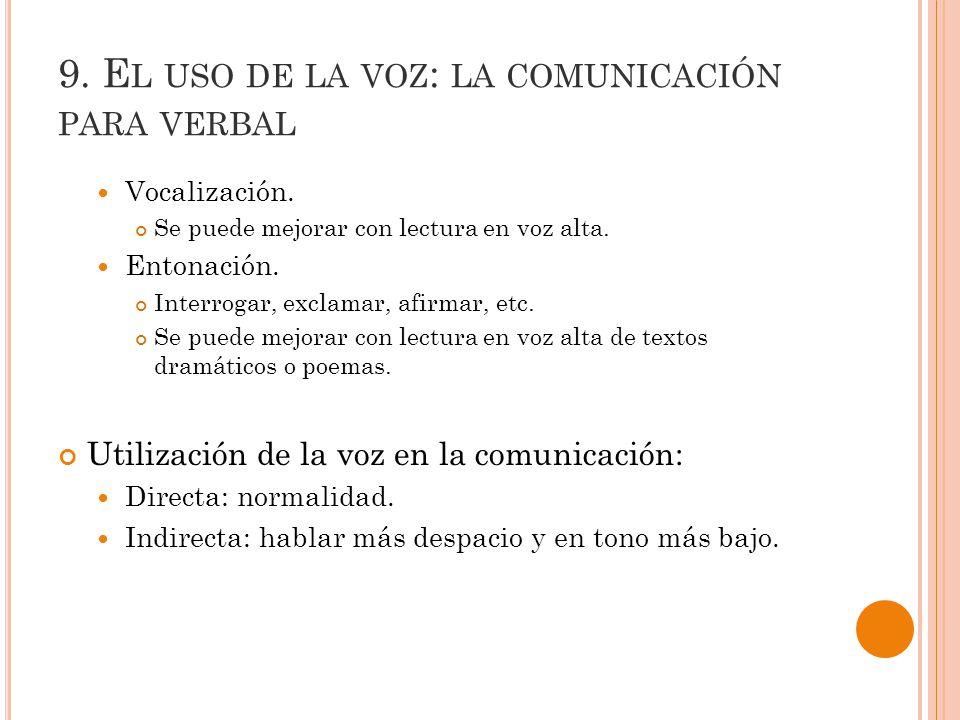 9.E L USO DE LA VOZ : LA COMUNICACIÓN PARA VERBAL Vocalización.