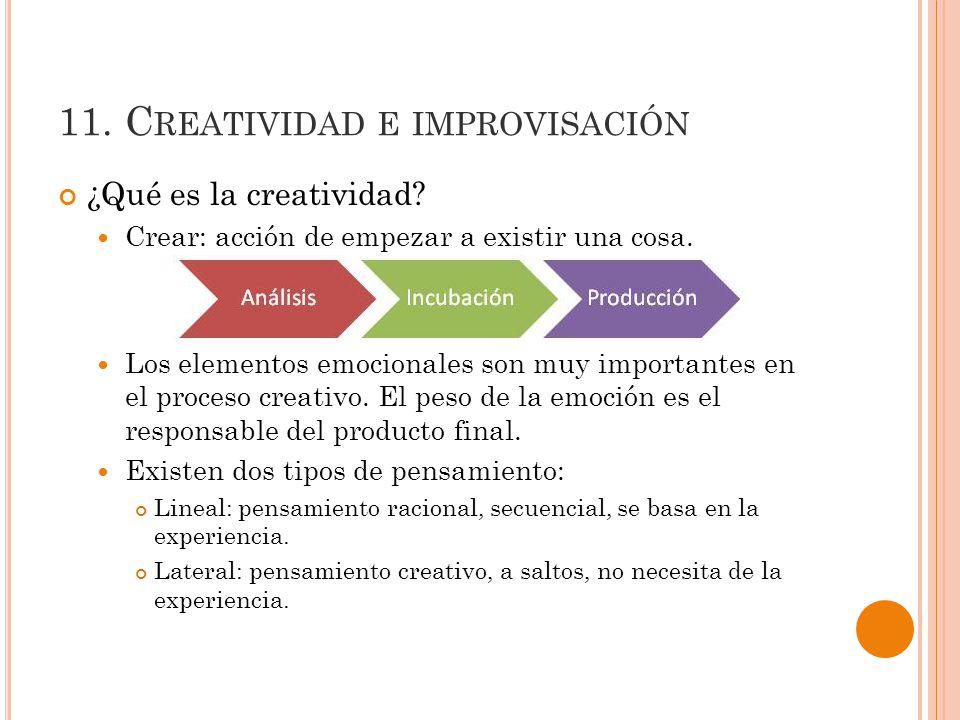 11.C REATIVIDAD E IMPROVISACIÓN ¿Qué es la creatividad.