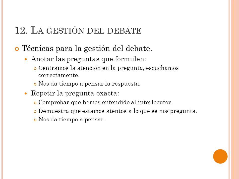 12.L A GESTIÓN DEL DEBATE Técnicas para la gestión del debate.
