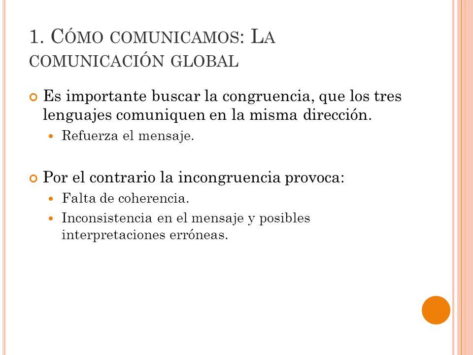 Es importante buscar la congruencia, que los tres lenguajes comuniquen en la misma dirección.