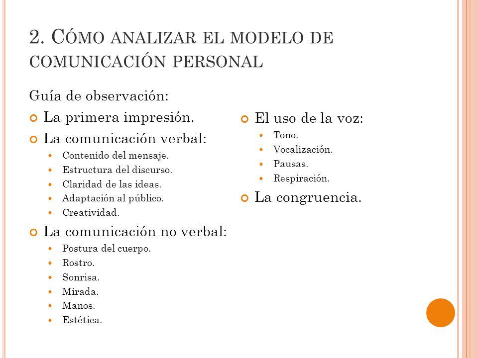 2.C ÓMO ANALIZAR EL MODELO DE COMUNICACIÓN PERSONAL Guía de observación: La primera impresión.