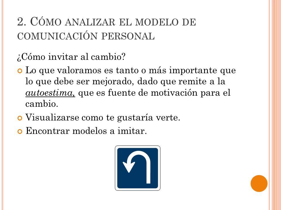 2.C ÓMO ANALIZAR EL MODELO DE COMUNICACIÓN PERSONAL ¿Cómo invitar al cambio.