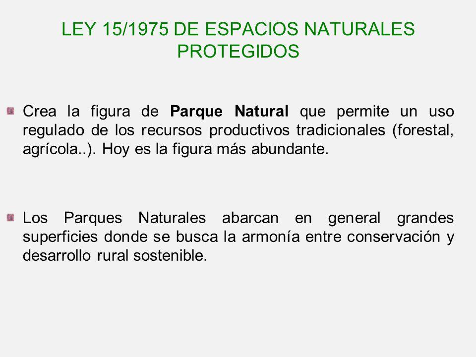 LEY 15/1975 DE ESPACIOS NATURALES PROTEGIDOS Crea la figura de Parque Natural que permite un uso regulado de los recursos productivos tradicionales (f