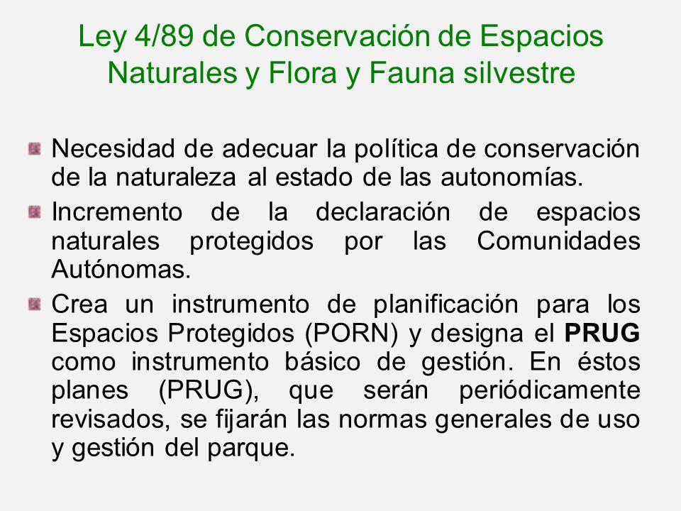 Ley 4/89 de Conservación de Espacios Naturales y Flora y Fauna silvestre Necesidad de adecuar la política de conservación de la naturaleza al estado d