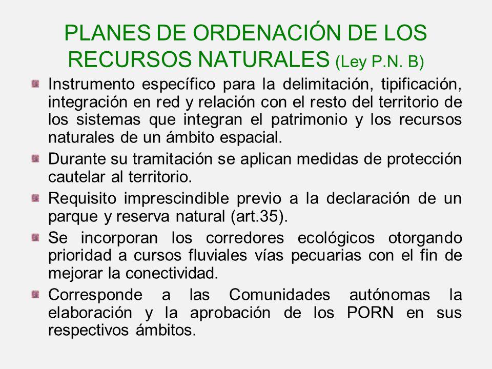 PLANES DE ORDENACIÓN DE LOS RECURSOS NATURALES (Ley P.N. B) Instrumento específico para la delimitación, tipificación, integración en red y relación c