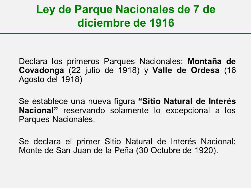 Ley de Parque Nacionales de 7 de diciembre de 1916 Declara los primeros Parques Nacionales: Montaña de Covadonga (22 julio de 1918) y Valle de Ordesa