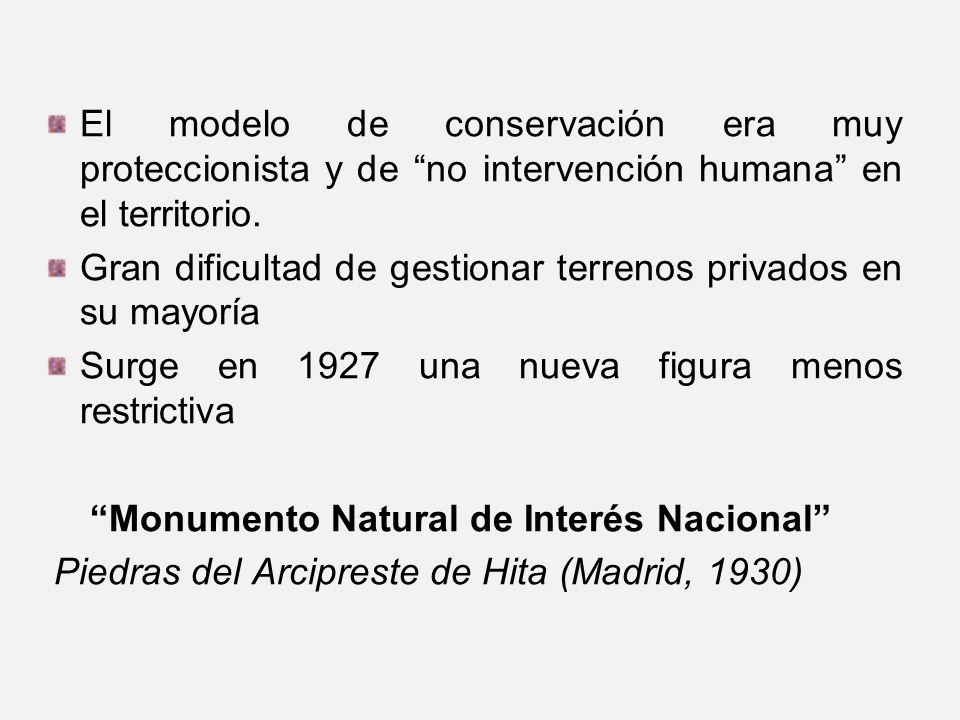 El modelo de conservación era muy proteccionista y de no intervención humana en el territorio. Gran dificultad de gestionar terrenos privados en su ma