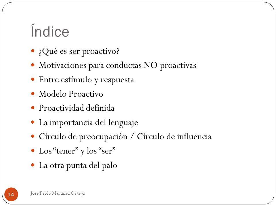 Índice Jose Pablo Martínez Ortega 14 ¿Qué es ser proactivo? Motivaciones para conductas NO proactivas Entre estímulo y respuesta Modelo Proactivo Proa