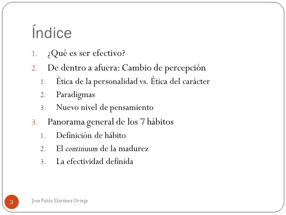 Índice Jose Pablo Martínez Ortega 3 1. ¿Qué es ser efectivo? 2. De dentro a afuera: Cambio de percepción 1. Ética de la personalidad vs. Ética del car