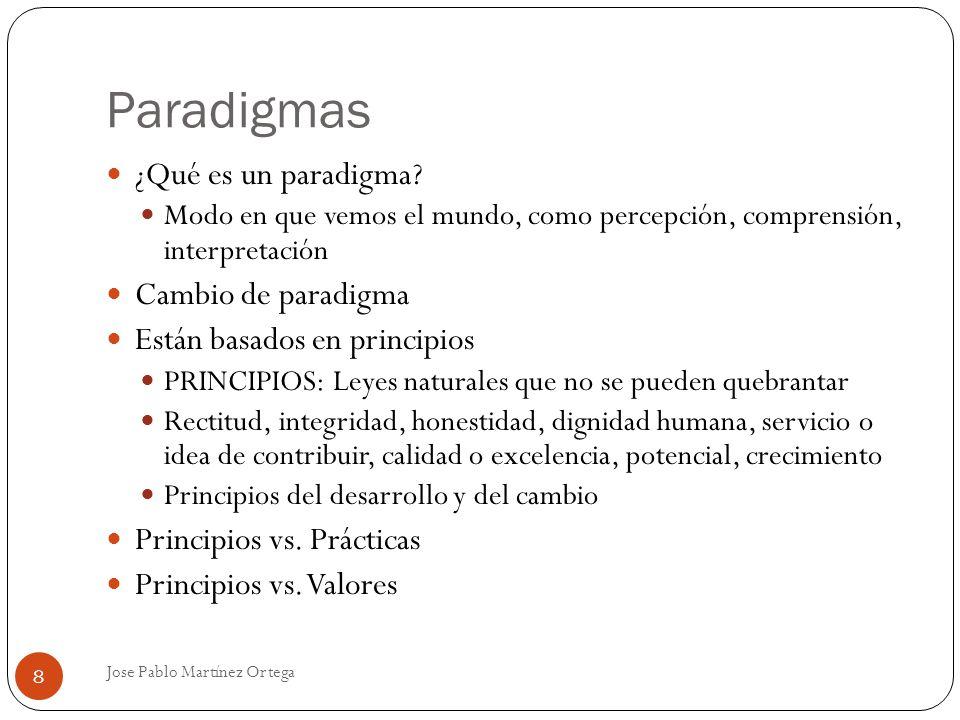 Paradigmas Jose Pablo Martínez Ortega 8 ¿Qué es un paradigma? Modo en que vemos el mundo, como percepción, comprensión, interpretación Cambio de parad
