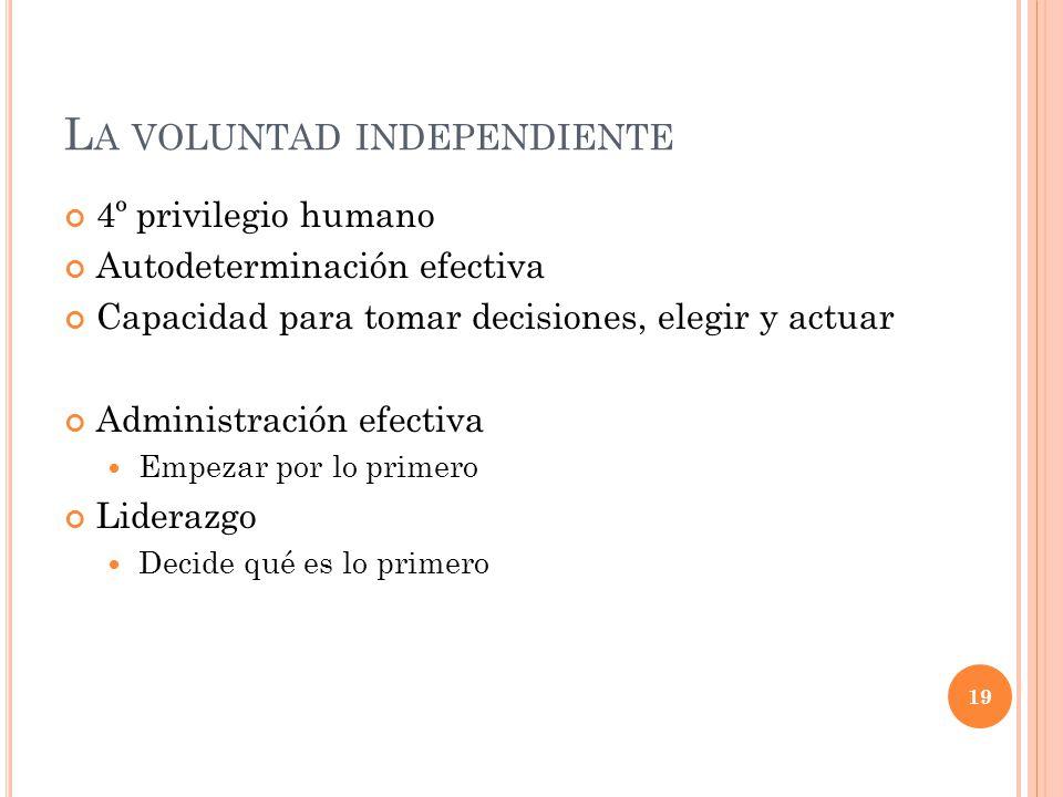 L A VOLUNTAD INDEPENDIENTE 4º privilegio humano Autodeterminación efectiva Capacidad para tomar decisiones, elegir y actuar Administración efectiva Em