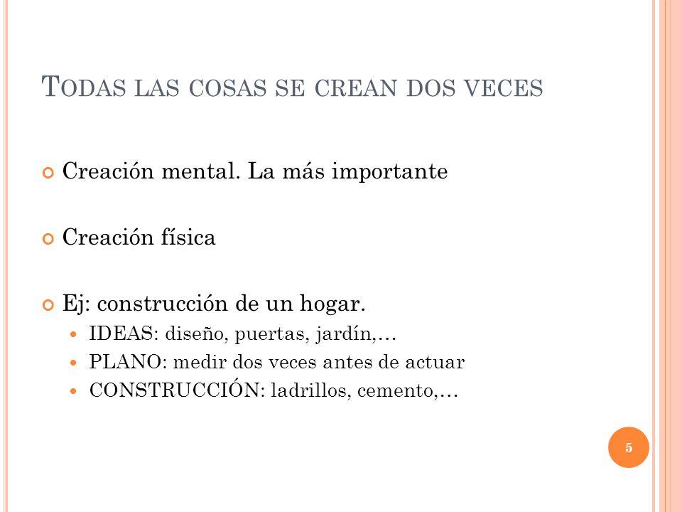 T ODAS LAS COSAS SE CREAN DOS VECES Creación mental. La más importante Creación física Ej: construcción de un hogar. IDEAS: diseño, puertas, jardín,…