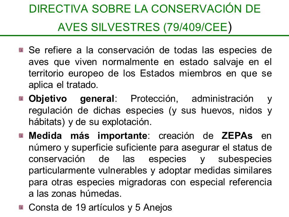DIRECTIVA SOBRE LA CONSERVACIÓN DE AVES SILVESTRES (79/409/CEE ) Se refiere a la conservación de todas las especies de aves que viven normalmente en e