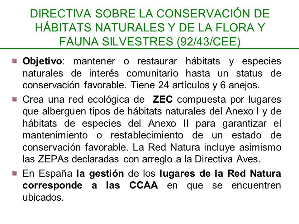 DIRECTIVA SOBRE LA CONSERVACIÓN DE HÁBITATS NATURALES Y DE LA FLORA Y FAUNA SILVESTRES (92/43/CEE) Objetivo: mantener o restaurar hábitats y especies