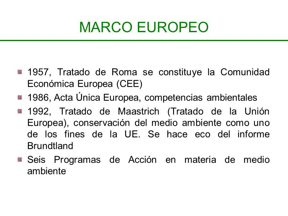 MARCO EUROPEO 1957, Tratado de Roma se constituye la Comunidad Económica Europea (CEE) 1986, Acta Única Europea, competencias ambientales 1992, Tratad