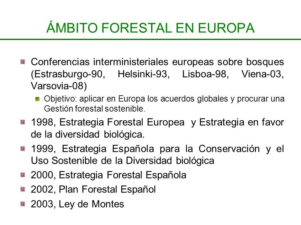ÁMBITO FORESTAL EN EUROPA Conferencias interministeriales europeas sobre bosques (Estrasburgo-90, Helsinki-93, Lisboa-98, Viena-03, Varsovia-08) Objet