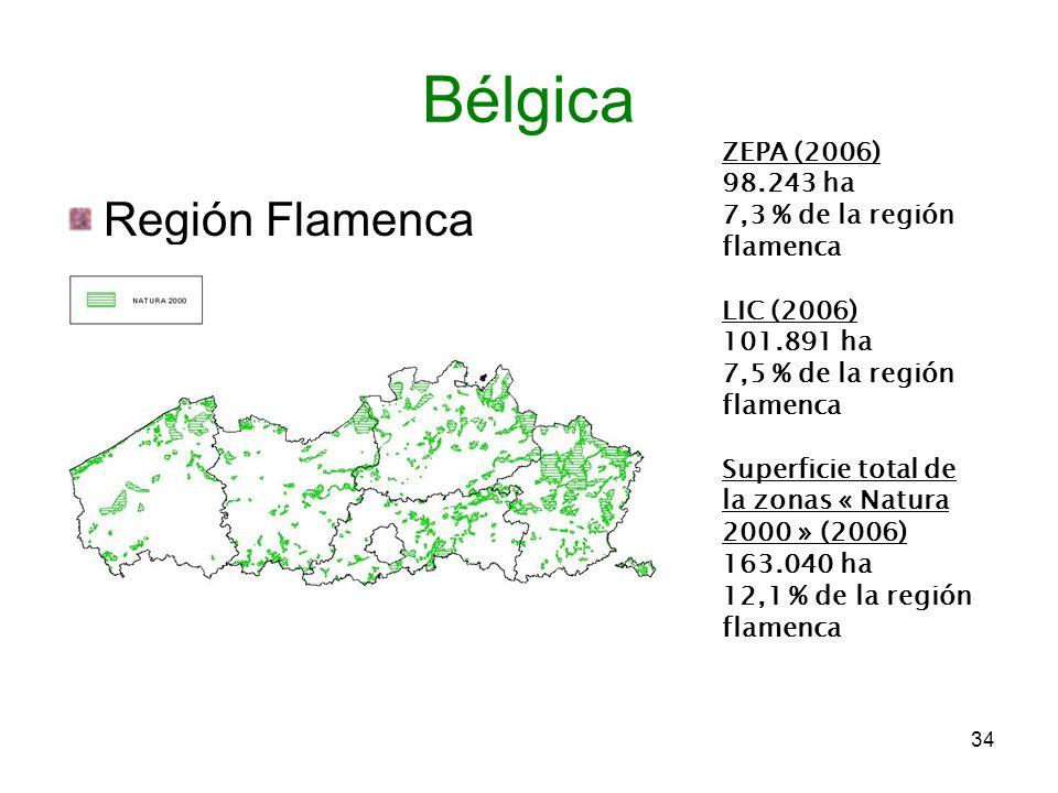 Región Flamenca 34 Bélgica ZEPA (2006) 98.243 ha 7,3 % de la región flamenca LIC (2006) 101.891 ha 7,5 % de la región flamenca Superficie total de la