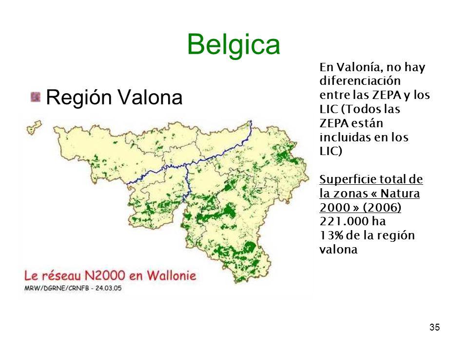 Región Valona 35 Belgica En Valonía, no hay diferenciación entre las ZEPA y los LIC (Todos las ZEPA están incluidas en los LIC) Superficie total de la