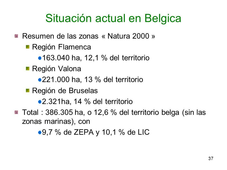 Resumen de las zonas « Natura 2000 » Región Flamenca 163.040 ha, 12,1 % del territorio Región Valona 221.000 ha, 13 % del territorio Región de Brusela