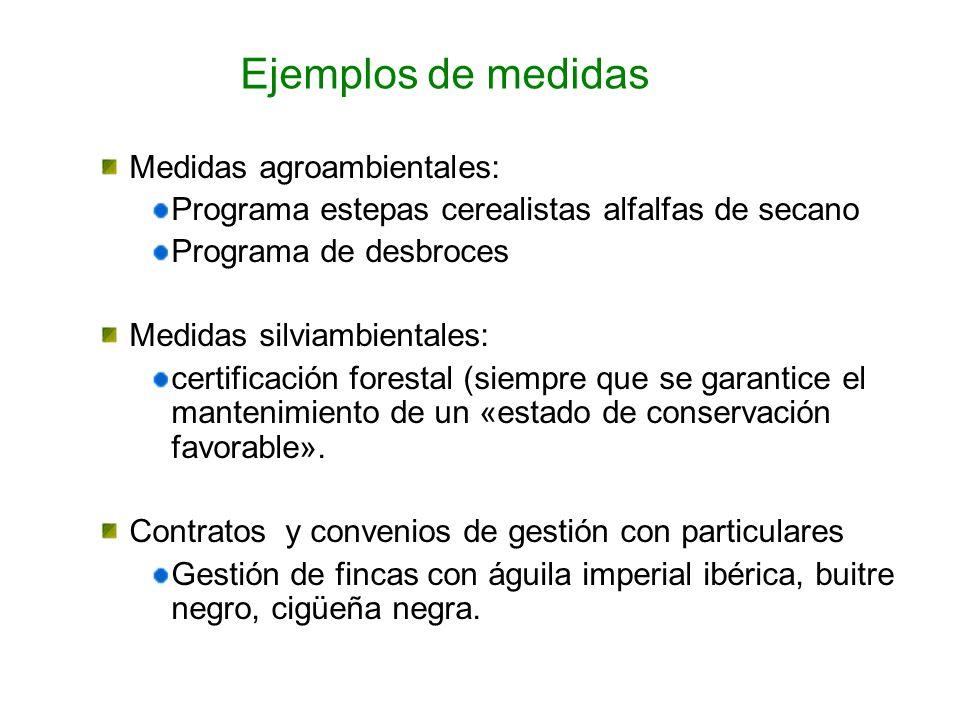 Medidas agroambientales: Programa estepas cerealistas alfalfas de secano Programa de desbroces Medidas silviambientales: certificación forestal (siemp