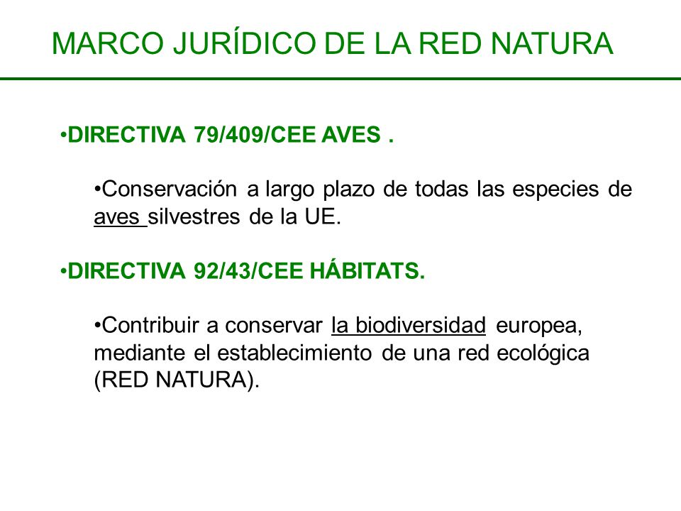 DIRECTIVA 79/409/CEE AVES. Conservación a largo plazo de todas las especies de aves silvestres de la UE. DIRECTIVA 92/43/CEE HÁBITATS. Contribuir a co