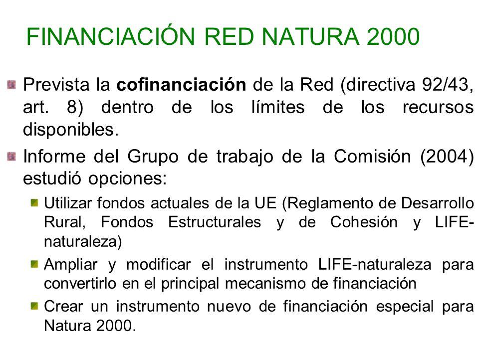 FINANCIACIÓN RED NATURA 2000 Prevista la cofinanciación de la Red (directiva 92/43, art. 8) dentro de los límites de los recursos disponibles. Informe