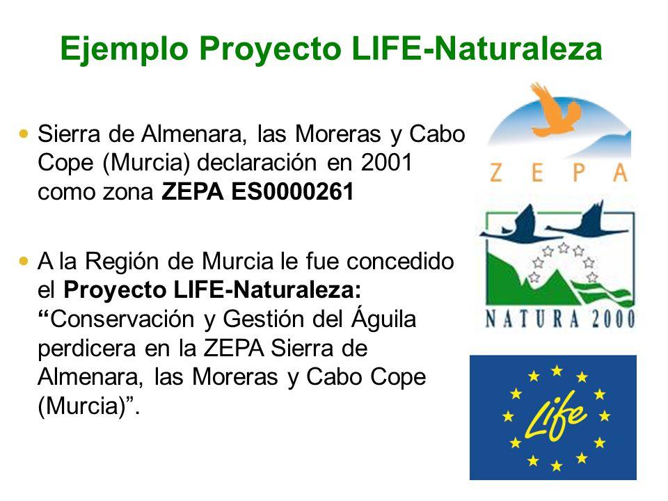 Ejemplo Proyecto LIFE-Naturaleza Sierra de Almenara, las Moreras y Cabo Cope (Murcia) declaración en 2001 como zona ZEPA ES0000261 A la Región de Murc