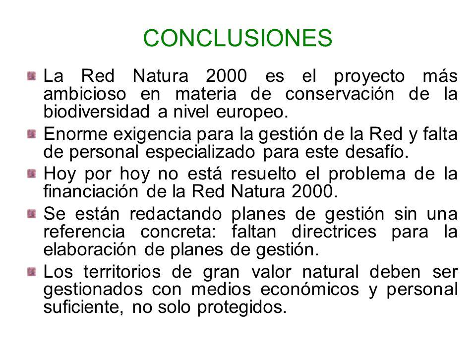 CONCLUSIONES La Red Natura 2000 es el proyecto más ambicioso en materia de conservación de la biodiversidad a nivel europeo. Enorme exigencia para la