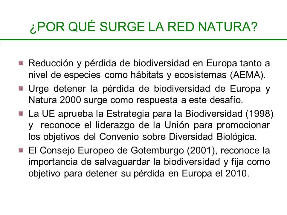 ¿POR QUÉ SURGE LA RED NATURA? Reducción y pérdida de biodiversidad en Europa tanto a nivel de especies como hábitats y ecosistemas (AEMA). Urge detene