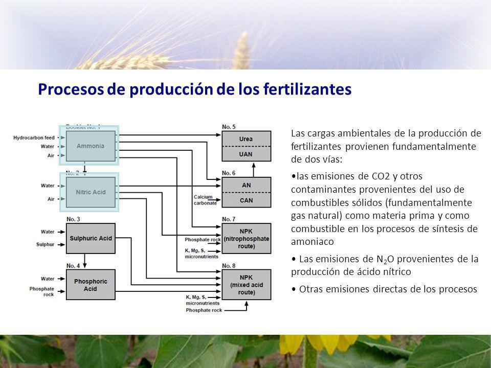 Procesos de producción de los fertilizantes Las cargas ambientales de la producción de fertilizantes provienen fundamentalmente de dos vías: las emisiones de CO2 y otros contaminantes provenientes del uso de combustibles sólidos (fundamentalmente gas natural) como materia prima y como combustible en los procesos de síntesis de amoniaco Las emisiones de N 2 O provenientes de la producción de ácido nítrico Otras emisiones directas de los procesos