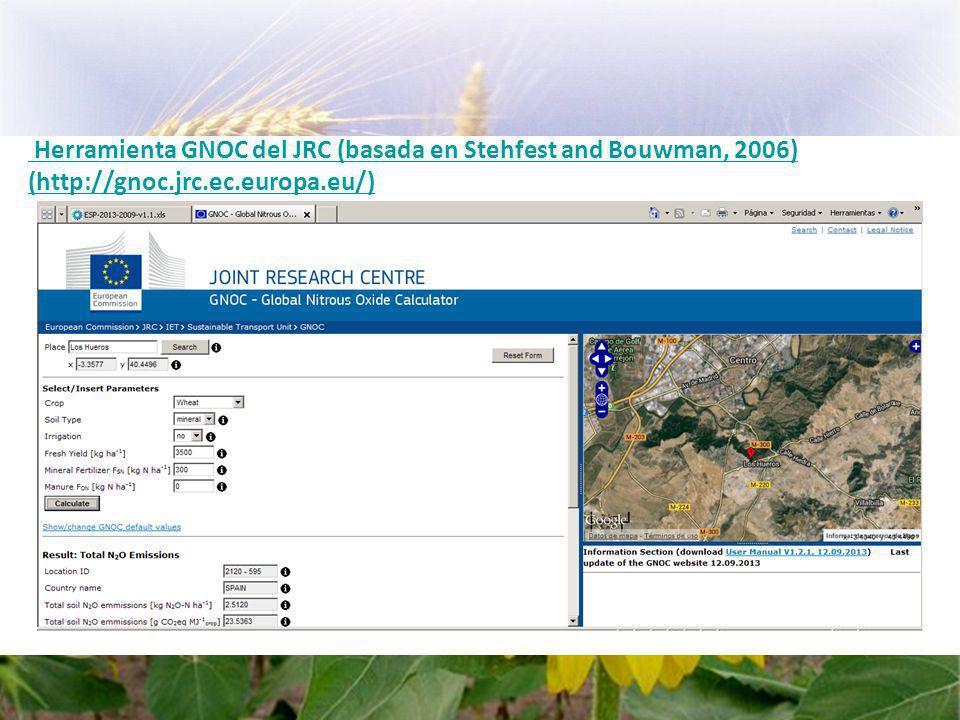 Herramienta GNOC del JRC (basada en Stehfest and Bouwman, 2006) (http://gnoc.jrc.ec.europa.eu/)http://gnoc.jrc.ec.europa.eu/