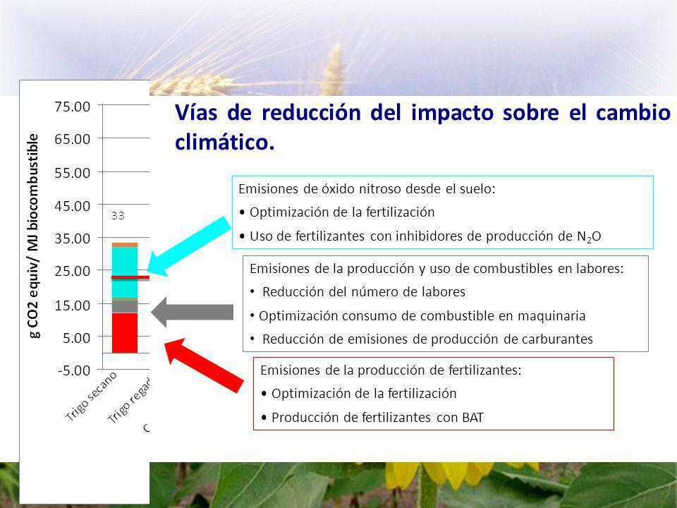 Emisiones de óxido nitroso desde el suelo: Optimización de la fertilización Uso de fertilizantes con inhibidores de producción de N 2 O Emisiones de la producción de fertilizantes: Optimización de la fertilización Producción de fertilizantes con BAT Emisiones de la producción y uso de combustibles en labores: Reducción del número de labores Optimización consumo de combustible en maquinaria Reducción de emisiones de producción de carburantes Vías de reducción del impacto sobre el cambio climático.