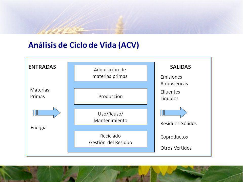 Análisis de Ciclo de Vida (ACV) Otros Vertidos ENTRADAS Materias Primas Energía SALIDAS Emisiones Atmosféricas Efluentes Líquidos Residuos Sólidos Coproductos Adquisición de materias primas Producción Uso/Reuso/ Mantenimiento Reciclado Gestión del Residuo