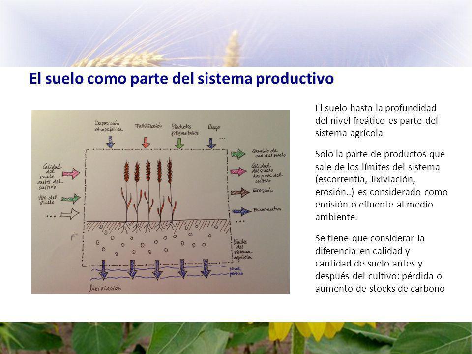 El suelo como parte del sistema productivo El suelo hasta la profundidad del nivel freático es parte del sistema agrícola Solo la parte de productos que sale de los límites del sistema (escorrentía, lixiviación, erosión..) es considerado como emisión o efluente al medio ambiente.