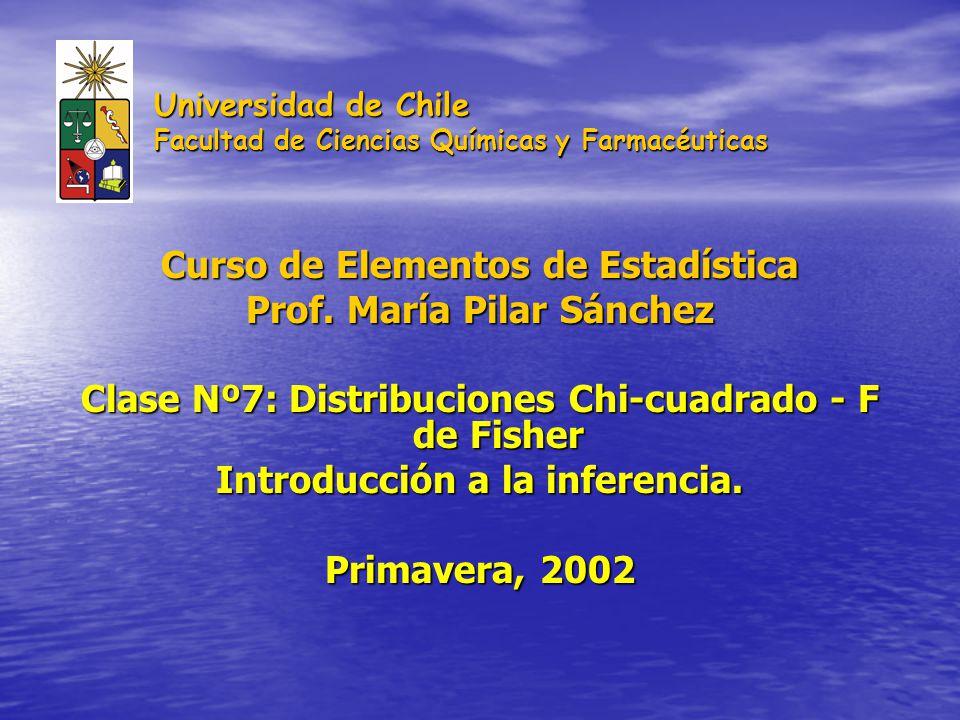 Universidad de Chile Facultad de Ciencias Químicas y Farmacéuticas Curso de Elementos de Estadística Prof. María Pilar Sánchez Clase Nº7: Distribucion